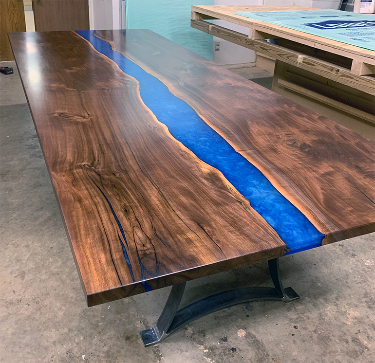 Buy A Large And Modern Custom Made Live Edge Conference Room Table $11,500+ Blue Epoxy Resin River | For Sale At CVCF River Table Online Store