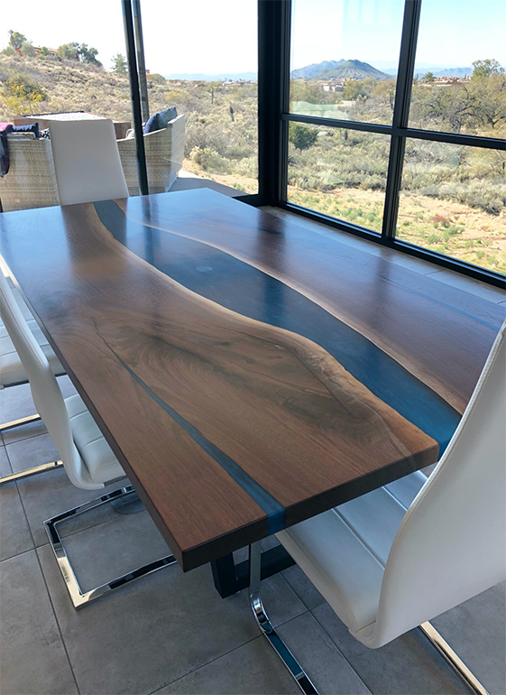 Buy A Custom Built Live Edge LED Backlit Epoxy Resin River Dining Table $7,500+ | For Sale Online At The CVCF River Table Online Store In 2021
