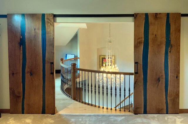 Custom Built Barn Doors With Blue Epoxy Resin And Live Edge Wood Slabs Sold Online