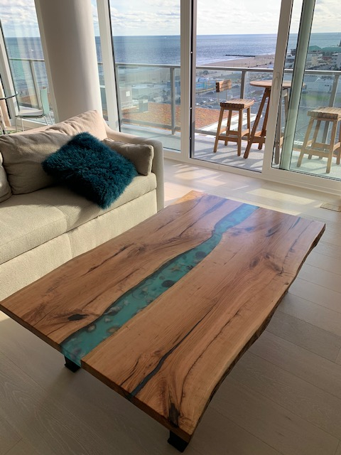 Live Edge Epoxy Resin River Coffee Table With Seashells For Sale Locally Near You (U.S. Only) And Online By CVCF