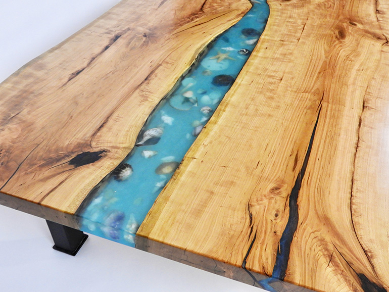 Custom Built Epoxy Resin River And Ocean Style Beached Themed Live Edge Table With Embedded Sea Shells {For Sale Locally Near You (U.S. Only) And Online By CVCF