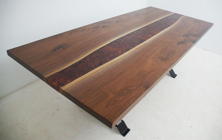 Custom Built Live Edge Black Walnut Dining Room Table With Copper And Black Epoxy Resin River $6,800+ | Sold Online At The CVCF River Table Online Store In 2020 | It Was Shipped To The Customer Safely