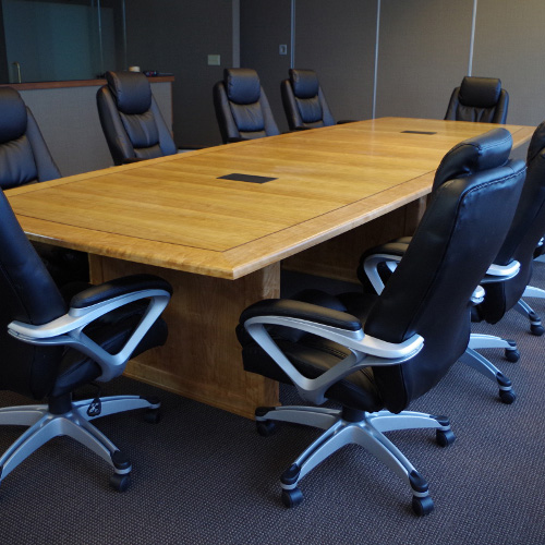 Custom Cherry Conference Table With USB Ports