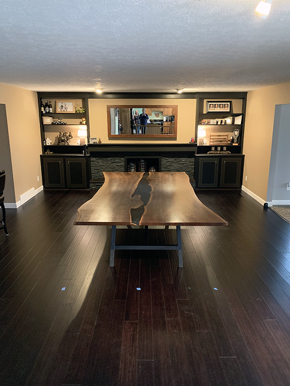 Custom Handcrafted Modern And Rustic Live Edge Dining Table With Cool Black Epoxy Resin River Sold Online By CVCF At The River Table Online Store In 2020