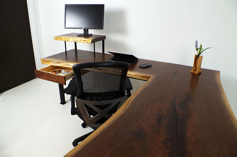 L-Shaped Live Edge Walnut Wood Home Office Desk Sold Online In 2020 $6,400+ For Sale At The CVCF River Table Onlnie Store In 2021