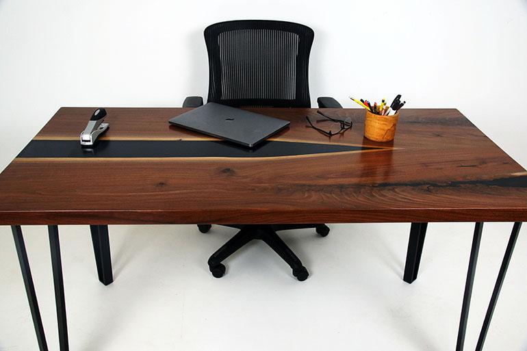 Custom Handmade Live Edge Black Epoxy Resin River Desk For Sale Online $6,600 At The CVCF River Table Online Store