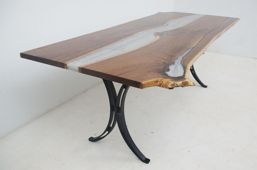 Custom Handmade Live Edge Walnut Dining Table With Pretty White Pearl Epoxy Resin River $5000+ Sold At The CVCF River Table Online Store In 2020