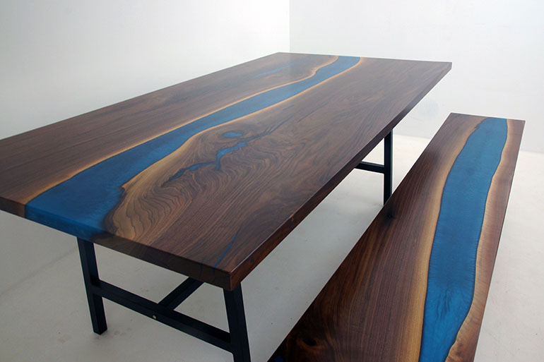 Custom Made Black Walnut Blue Epoxy River Picnic Table With Matching Bench [With LED Lights]
