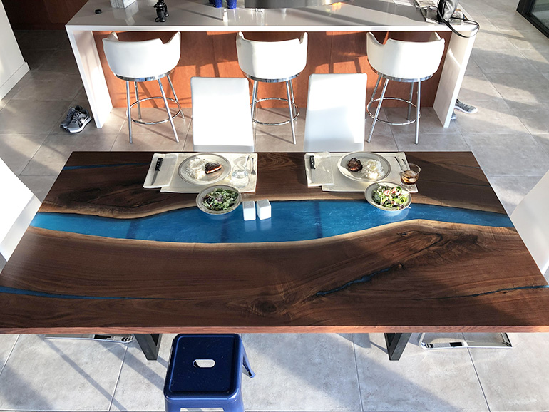 Custom Made Blue Epoxy Resin River Dining Tables For Sale Locally Near You (U.S. Only) And Online By Chagrin Valley Custom Furniture