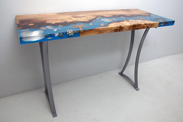 Custom Made Epoxy Resin Water-Beach-Ocean-Lagoon-Waterfall-River-Lake Themed Live Edge Furniture