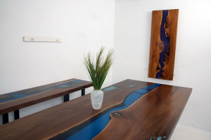 Custom Made Live Edge Black Walnut Dining Table With A Blue Epoxy Resin River $7,200+