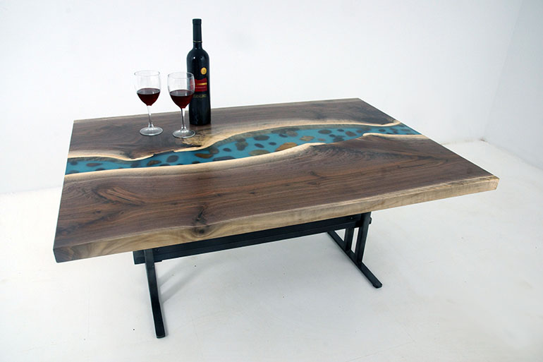 Live Edge Black Walnut Coffee Table With With Embedded River Rocks In A Blue Epoxy Resin River $2,600 For Sale At The CVCF River Table Online Store