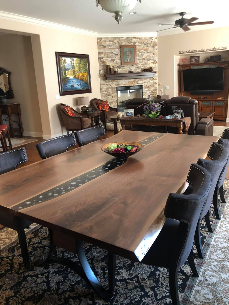 Custom Made Live Edge Black Walnut Dining Table With Black Epoxy Resin River And Embedded Crystals