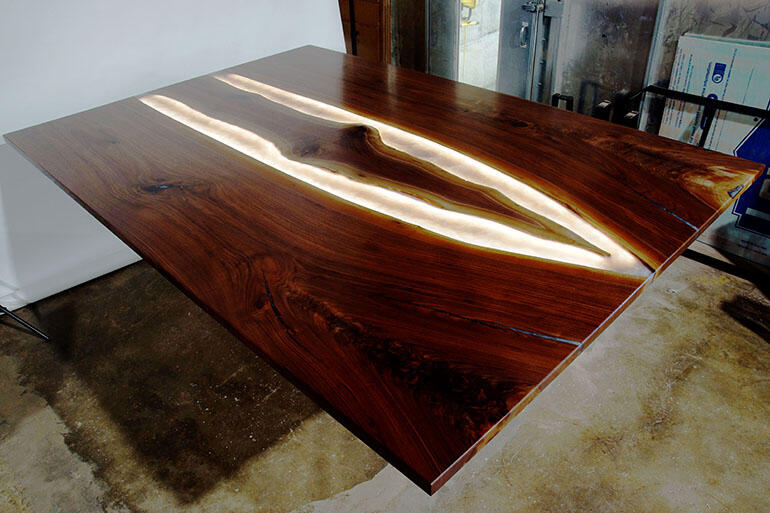 Custom Made Live Edge Epoxy Resin River Kitchen Table Top With Brilliant LED Lights Shipped To The Client In 2020