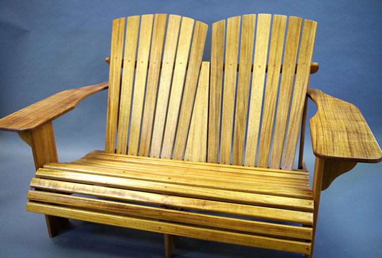 Custom Made Outdoor Adirondack Loveseat Cypress Wood Sold Locally