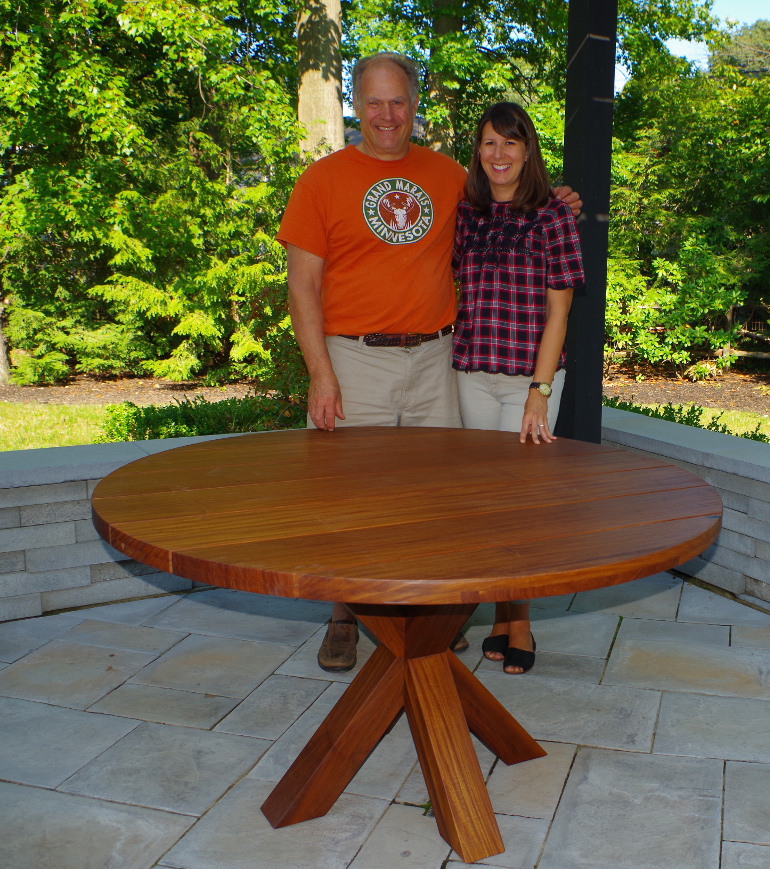 Custom Made Round Outdoor Dining Table Made With Teak Wood