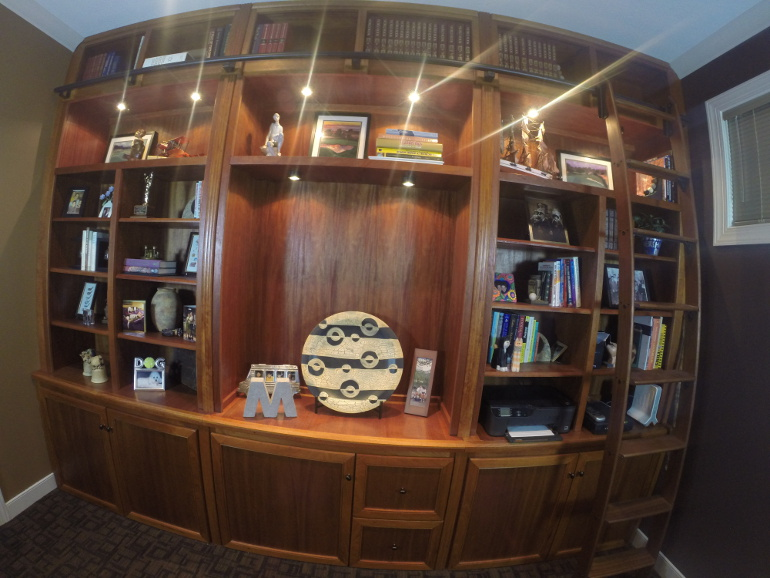 Custom Built Book Cases And Handmade Bookshelves For Sale Locally Near You (U.S. Only) Or Online | Pictured Here Is A Custom Made Built-In Mahogany Book Case And Bookshelves Sold Locally In 2014 By Chagrin Valley Custom Furniture $12,500+