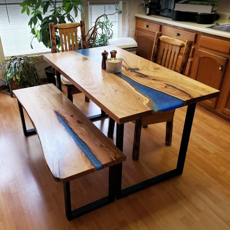 Elm River Kitchen Table With Blue Epoxy And Bench