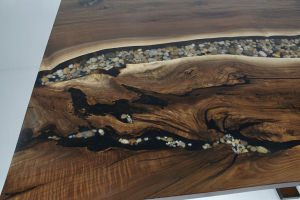 Embedded River Rocks In A Epoxy Resin River In A Live Edge Wood Dining Table Top On A Custom Wood Single Pedestal Base $6,500