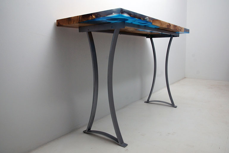 Custom Legs (Bases) For A Epoxy Resin 'Coral Reef' Coffee Table | Custom Beach Style Furniture $2,400+ Handmade By CVCF Metalsmiths