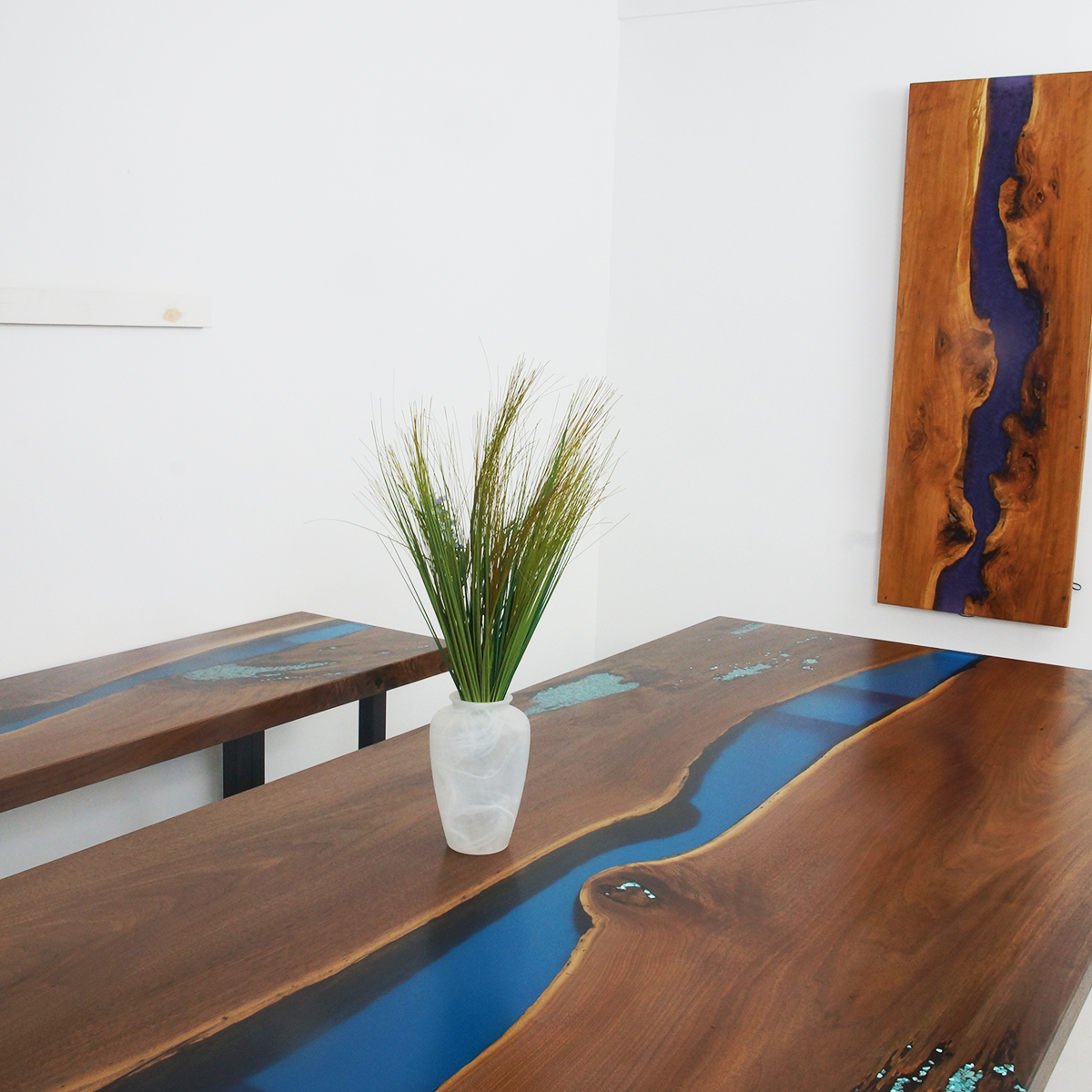 Epoxy Resin River Dining Table With Blue Resin And Turquoise Stones