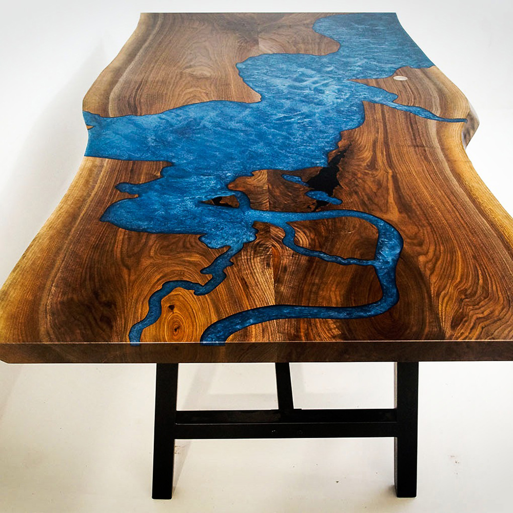 Epoxy Resin River Table With CNC Image Of Chesapeake Bay