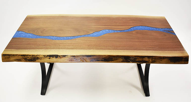 Epoxy Resin River Live Edge Coffee Table For Sale At CVCF River Table Online Store $2,100