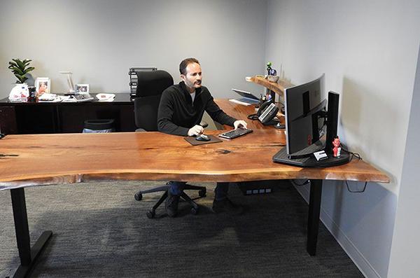 Ergonomic Sit-Stand Desk Walnut Black Resin Set To Low