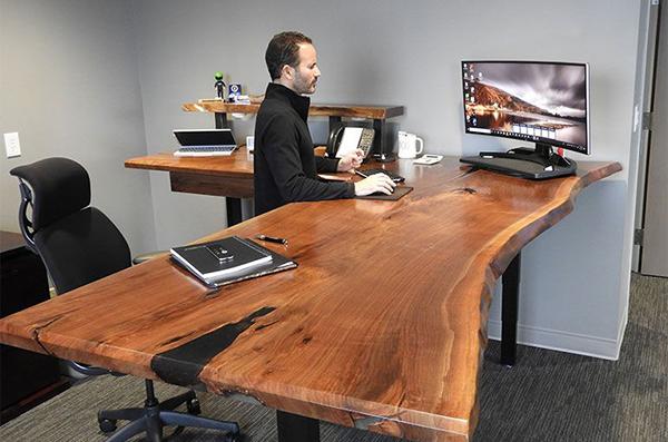 Ergonomic Sit-Stand Desk Walnut Black Resin Set To Standing