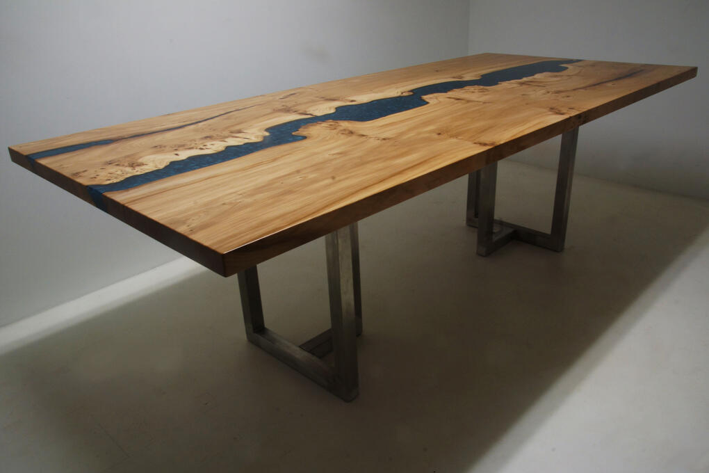 Expertly Handcrafted Live Edge White Oak Dining Room Table With Teal Epoxy Resin River $8,300+ | Co-Designed Online By CVCF And Customer In 2020 | Sold Online At The CVCF River Table Online Store