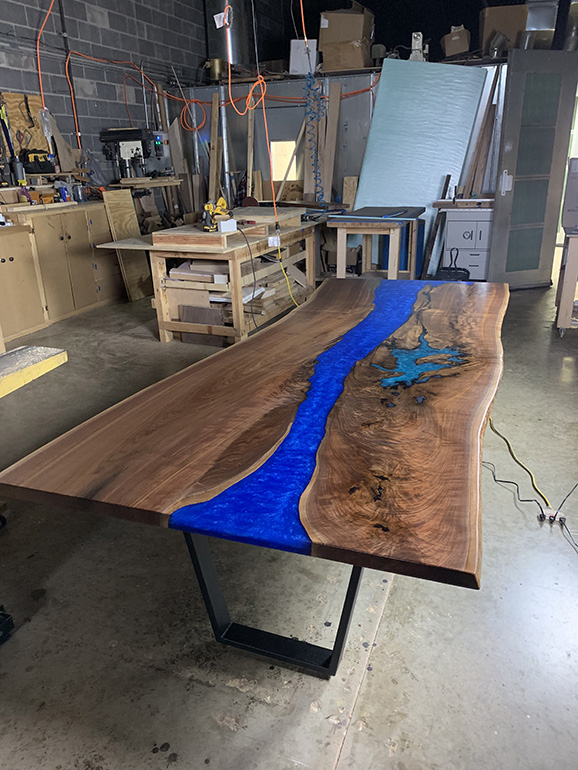 Handmade Dining Table Made With Live Edge Black Walnut And Showcased With A Brilliant Blue Epoxy Resin River $4,650+ | Co-Designed By CVCF And Customer | Shipped To Custom In New York In 2020
