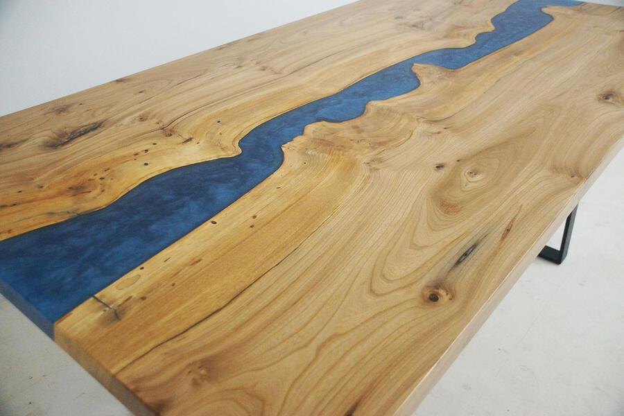 Handmade Elm Kitchen Table With Blue Epoxy Resin River Sold Online By CVCF $5,500+