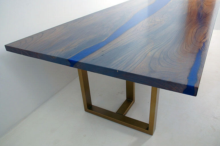 Handmade Hickory Live Edge Dining Room Table Stained Gray With Blue Epoxy Resin River $6,100+ | Custom Made Epoxy Resin River Dining Table Co-Designed By CVCF And Our Gracious Customer | Sold Online At The CVCF River Table Online Store In 2020 | This Totally Cool River Table Was Shipped In 2020 To The Customer Who Easily Attached The Sturdy Steel Legs