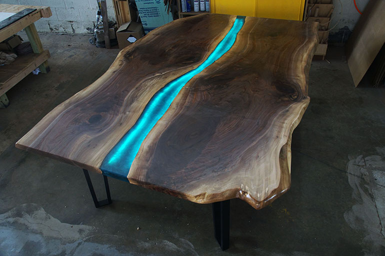 Handmade Live Edge LED Backlit Walnut Epoxy Resin River Conference Table $9,000+ For Sale At CVCF River Table Online Store | Co-Designed By CVCF And Customer
