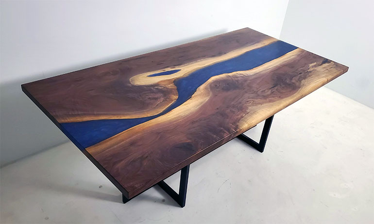 Handmade Black Walnut Blue Epoxy Resin River Dining Table $5,900+ | Sold Online At The CVCF River Table Online Store In 2020