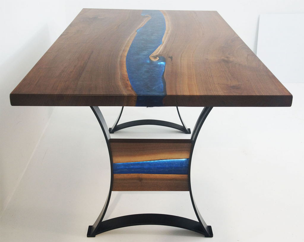 LED Strip Lights In A Blue Epoxy Resin River Live Edge Dining Table Top | Sold Online By CVCF In 2020 | $6,000+ | Custom Table Top Base Made With Metal, Wood And Led Lights | Shipped In 2021