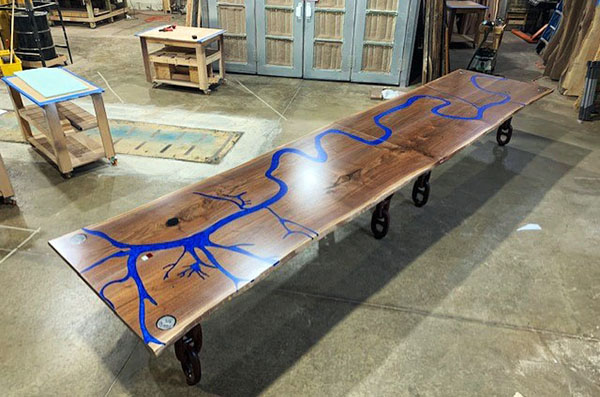 Large Walnut Conference River Table With Mississippi River Table CNC Engraved