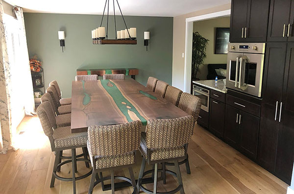 Large Walnut Dining Room Table With Green Epoxy Resin River Sold Online In 2020