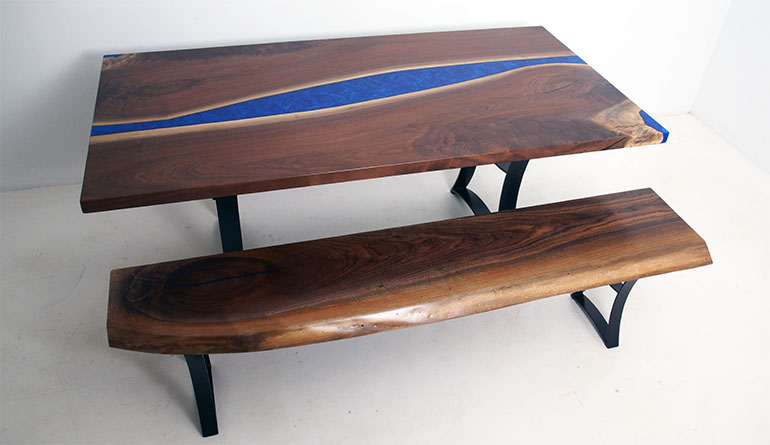 Custom Made Live Edge Black Walnut Dining Table With Cobalt Blue Epoxy Resin River With Embedded LED Lights And Matching Live Edge Bench $9,000+ For Sale At CVCF River Table Online Store