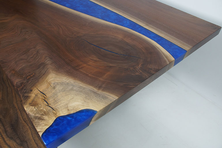 Live Edge Black Walnut Dining Table With Cobalt Blue Epoxy Resin River