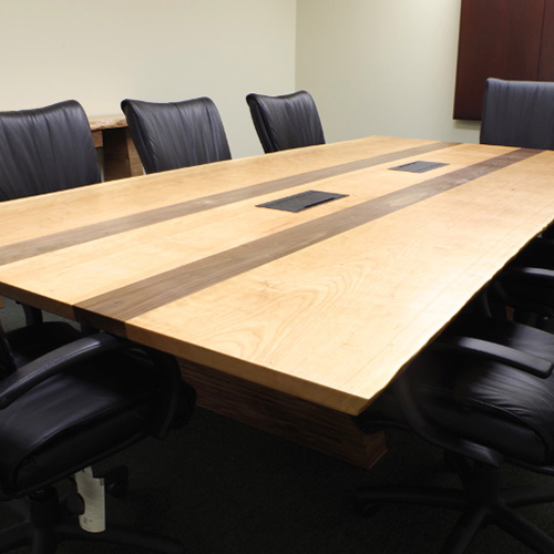 Live Edge Cherry And Walnut Inlay Conference Table With Electrical Outlets