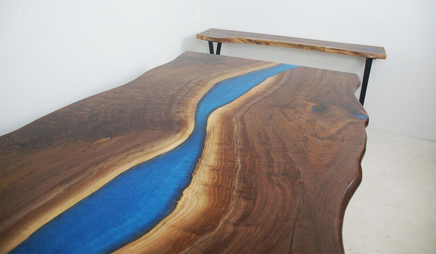 Live Edge Dining Table With Blue Epoxy Resin River Sold Online In 2020