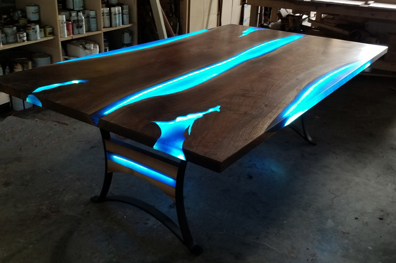 """Stunning """"Glow In The Dark"""" Live Edge Epoxy Resin River Dining (Party) Table With Backlit LED Lights $14,000+"""