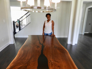 Buy A Custom Built 10 Foot Long Live Edge Black Walnut Wood Slab And Black Epoxy Resin River Dining Table Online | $8,500+ | Pictured Here Is A River Table Sold Online To A Gracious Customer In Washington DC In 2019 By CVCF