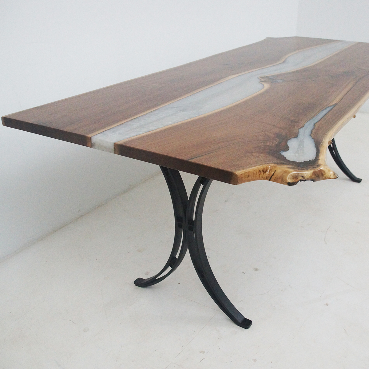 Live Edge Kitchen River Table With White Epoxy Resin