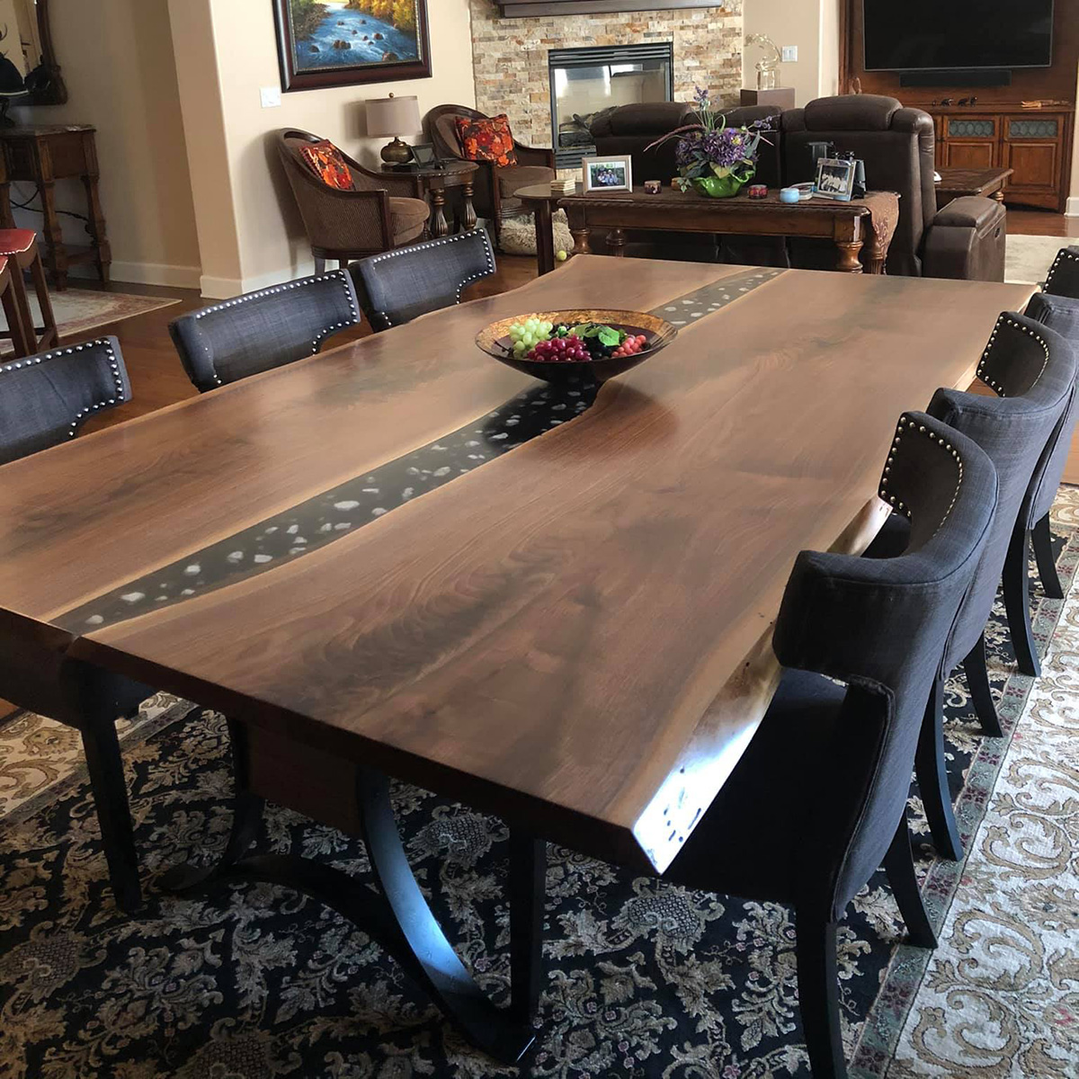 Live Edge River Table With Embedded Crystals