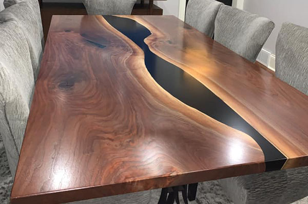 Medium Dining Room Table For Sale With Walnut Wood And Black Epoxy River