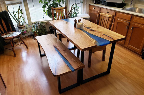 Medium Kitchen Table With Live Edge Bench And Blue Resin River