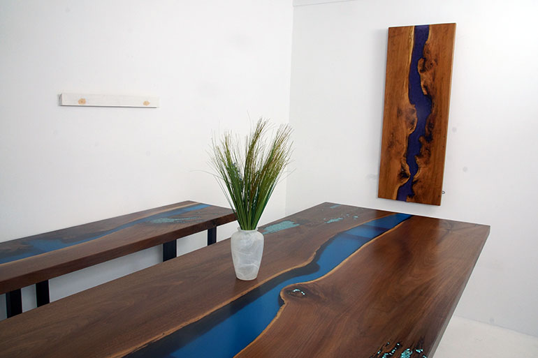 Order A Custom Built Live Edge Blue Epoxy River Dining Table At The CVCF River Table Online Store For $7,200+ Matching Console Table $1,900+