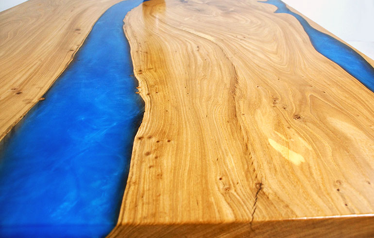 Buy A Blue Epoxy Resin River For Sale At The CVCF River Table Online Store $7,900+ | Custom Built Live Edge White Oak Table Top